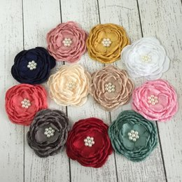 Wholesale Satin Poppy Flowers - Fabric Handmade Flowers Matching Pearls Satin Poppy Layered Flower Baby Girl Hair Accessory Without Hair Clip