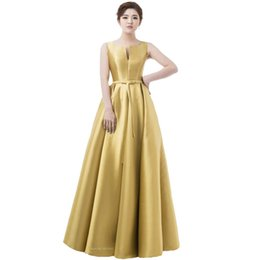 Wholesale Thick Lace Gowns - Simple Thick Satin Sleeveless Floor-length Long Evening Dress Bridal Banquet Formal Dresses Custom Made Party Gown