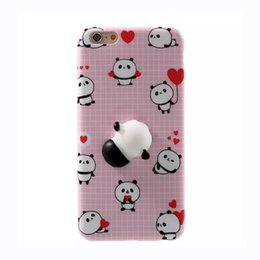 Wholesale Iphone Panda Cases 3d - 3D Cartoon Cute Soft Silicone Squishy Panda Squishy Cat Fundas Cover Case for iPhone 6 6S 7 Plus Phone Cases