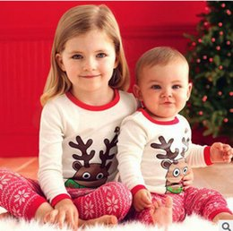 Wholesale Christmas Reindeer Top - Chirstmas baby romper sets grils lovely Reindeer long sleeve tops + stripe trousers 2pcs sets children's cotton babies clothes T0194 snow