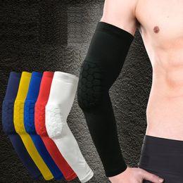 Wholesale Foam Elbow Pads - Wholesale- 1PCS Arm sleeve honeycomb foam pad crashproof antislip basketball hex pads armband sport elbow support brace protector