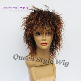 Wholesale Afro Hair Party - Synthetic short Afro Cut Kinky curly spiky hair wig Synthetic Ombre Brown Tip hair Short Cut Cosplay Party Wigs Unisex peruca