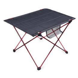 Wholesale Folding Tables Camping - Wholesale-New Portable Outdoor Oxford Folding Table Desk Golden Aluminium Alloy Ultra-light Durable Foldable Table Camping Hiking Picnic