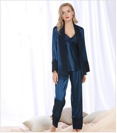 Wholesale Woman Elegant Pajamas - 3 piece Robe Pants Sets for Women Lace trim Sleep comfortable Anti real silk Autumn Sexy Night Shirt Casual wear Elegant Pajamas Sets STZ305