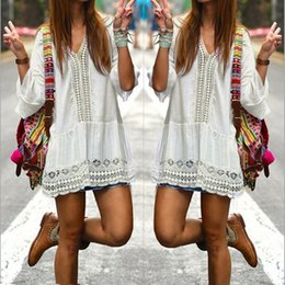 Wholesale Mini Vestidos Lycra - 2017 Bohemian Style Women Summer White Dress Sexy Casual V Neck 3 4 Flare Sleeve Lace Crochet Loose Mini Beach Dresses Vestidos