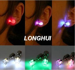 Wholesale Light Up Earrings Wholesale - Wholesale- 1 Pair Light Up LED earrings Studs Flashing Blinking Stainless Steel Earrings Studs Dance Party Accessories Supplies for woman