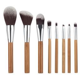 Wholesale New Bamboo Set - New 8Pcs Bamboo Makeup Kabuki Brushes Set Face Powder Brush Cosmetic Tool