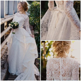 Wholesale Modest Sleeves - Long Sleeves Wedding Dresses 2017 New with Lace Detachable Train Overskirts Modest Sweetheart Applique Beach Bridal Gowns