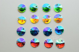 Wholesale Rivoli 16mm - 100 16mm Color Purple Acrylic beads Rivoli Faceted Sew On Flat Back Jewels Craft Accessories