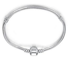 rosa turmalin perlen Rabatt 10pcs / lot Silber überzogenes Armband-Armband-Schlangenkette mit Barrel-Verschluss für DIY europäisches Armband C16 Freies Verschiffen