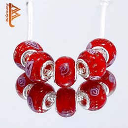 Wholesale Lampwork Glass Heart Loose Beads - BELAWANG Red Glass Beads Handmade Lampwork Loose Beads Silver Plated Charm Beads Fit Charm Bracelets&Bangles DIY Jewelry Making Gift