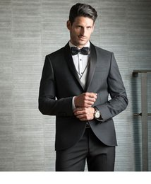 Wholesale Dark Blue Groomsmen Suits - Dark Gray Men Suits For Wedding Slim Fit Groomsmen Tuxedos One Button Formal Wedding Suit Including Jacket Pants And Vest