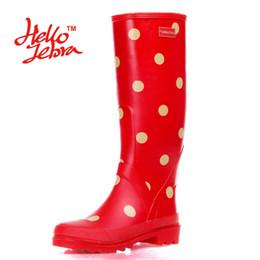 Wholesale Tall Red Rain Boots - Women Polka Dot Tall Rain Boots Lady Low Heels Waterproof Welly Spot Buckle High Style Nubuck Rainboots 2016 New Fashion Design Women Dot