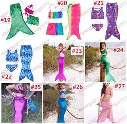 Wholesale Kids Fedex Suits - Girls Mermaid Tail Bikini Suit Kids INS Swimmable Mermaid Fins Swimsuit Swimming Costume Bathing Suit 30Designs choose free fedex ups ship