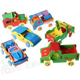 Wholesale handicrafts children - Happyxuan Kids DIY Craft Kits Handicrafts EVA Car Truck Toy Children Handmade Educational Toys 3-6years