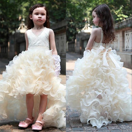 Wholesale Girls High Low Pageant Dresses - Champagne High Low Flower Girl Dresses Beaded Organza Ruffles V Neck Short Front Long Back First Communion Dress 2018 Girls Pageant Dresses