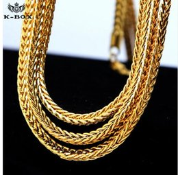"""Wholesale 24 Solid Gold Chains - Men's 4mm Solid Franco Chain 24K Gold Plated Hip-Hop Box Link Curb Necklace Chain 24"""" 30"""" 36"""""""
