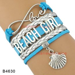 Wholesale Wholesale Seashells - (10 Pieces Lot) Infinity Love Beach Girl Blue Silver Leather Wrap Bracelet Seashell Conch Charm Multilayer Girl Fashion Cuff