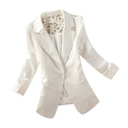 Wholesale Ladies Lace Jackets - Fashion Women's One Button Slim Casual Business Jackets Formal Office Ladies Elegant Lace Jacket Coat Outwear