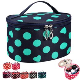 Wholesale Makeup Case Mirror Wholesale - Big Dots & Heats Handle Round Dot Large Cosmetic Bag Travel Makeup Organizer Case Holder With Mirror ELB058
