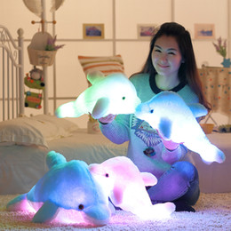 Wholesale Soft Led Toys - Wholesale- 45cm Luminous Flashing Colorful Dolphin Pillow With LED Light Soft Toy Cushion Plush Stuffed Doll For Party Birthday Gift