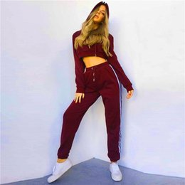 Wholesale Women S Jumpsuits Clothing - 2017 Winter Women Sweatsuit Sets Of Two Piece Women Clothing Fashion Sweatshirts Long Pants Women Tracksuit High Quality Ladies jumpsuits