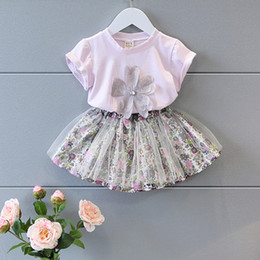 Wholesale fashion tutus for girls - New Girl Clothing Sun Florwer Top+Floral Lace Skiirt 2 PCS Summer Fashion Purple Clothing For Girl