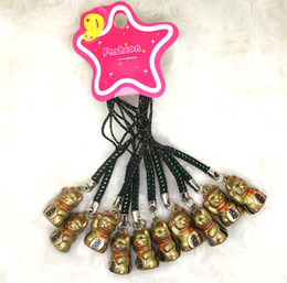 Wholesale Metal Bell Charms - Wholesale New Universal 60pcs Popular Anime Cartoon Lucky Cat Cell Phone Metal Straps & Charms Cute Tinkle Bell creative gifts hot 012