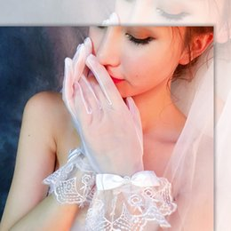 Wholesale White Performance Gloves - 10 pairs new bride gloves Women white Lace gloves Performance Has a finger gloves Wedding dress accessories