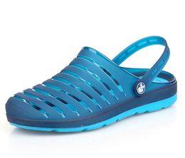 Wholesale Beach Gardening Shoes - Big Size Summer Clogs for men zuecos comfortable beach klompen hole garden shoes candy color flats Men Shoes Men's Sandals