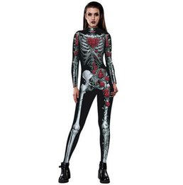 Wholesale Tights For Costumes - Halloween Costumes For Women Sexy 3D Rose Skull printing Jumpsuits Tight Spiderman Cosplay Catsuit Costumes
