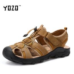 Wholesale Rubber Wood Grain - Top Quality Men Sandals Full Grain Leather Men Summer Shoes Casual Outdoor Shoes Zapatillas Breathable Beach Sandals