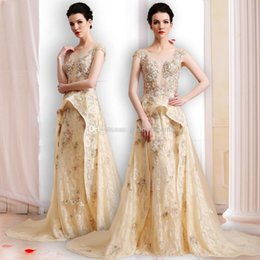 Wholesale Dubai Crystal Wedding - real photos Arab Dubai gold wedding dresses 2018 heavily embroidery lace with 3D floral appliques bateau neckline chapel train wedding gowns
