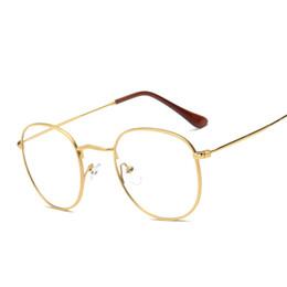 Wholesale Metal Optical Spectacles - Wholesale- Fashion Women Eyeglasses Frame Clear Lens Eyewear Unisex Retro Glasses Metal Temples Nerd Transparent Frames Spectacle Optical