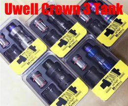 Wholesale Triple Crown - 2017 Uwell Crown 3 Sub-Ohm Tank 5ml Crown III Top Fill Design with Twist Off Cap Atomizer Triple Airflow Slots Quartz Glass Tank Atomizer