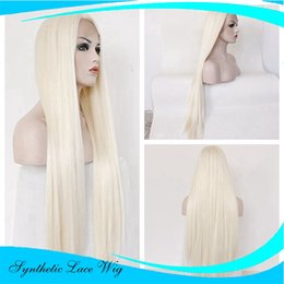 Wholesale Highlights Front Lace - Fashion White Blonde Lace Front Wigs Heat Resistant Synthetic Lace Front Wigs Highlight Wigs 24 inch