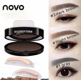 Wholesale Stamp Powder - 2017 NOVO Eyes Makeup Brow Stamp Seal Eyebrow Powder Waterproof Gray Brown Black Eye Brow Powder with Eyebrow Stencils Brush Tools