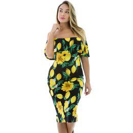 Vestidos curtos do bodycon da parte traseira da abertura on-line-Europa e Estados Unidos das mulheres outono novo lemon impressão barra pescoço vestido com mangas curtas de volta aberta garfo ruffled vestido sexy