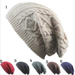 Wholesale Hat Free Knitting Pattern - Unisex New Design Caps beanie Twist Pattern Solid Color Women Winter Hat Knitted Sweater Fashion Hats 6 colors YYA590