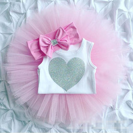 Wholesale Headband Tutu Rompers - Three-pieces Newborn Baby Girls Heart Rompers with Lace tutu Skirts with bow Headbands 2017 childrens Summer Outfits kids sets