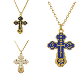 Wholesale Chains Neckless - Wholesale-Russian slavic pendant Orthodox Eastern Church Female Male cross Hotset necklace men chain Christian Hot Sale jewelry Neckless