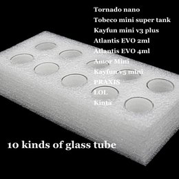 Tanque de tornado online-Tornado nano Tobeco mini súper tanque Kayfun v3 plus Atlantis EVO 2ml 4ml Amor Mini Kayfun v5 PRAXIS Kinta reemplazo Pyrex Glass Tube