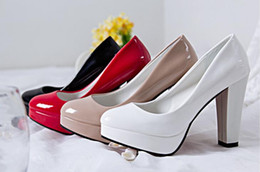Wholesale Authentic Wedding Shoe - 2017 authentic new large size high heels with a waterproof head round shoes only 5-9
