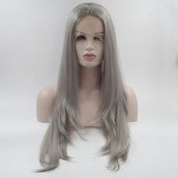 Wholesale Long Gray Wigs For Women - Silver Gray Synthetic Lace Front Wig Dark Roots Long Natural Straight Replacement Hair Wigs For Women Heat Resistant Fiber Hair