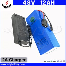 Wholesale 48v Battery Li Ion - Rechargeable Lithium Battery 48V 12Ah Li-ion Battery 48V For 1000W Bafang Motor With 2A Charger eBike Battery 48V Free Shipping