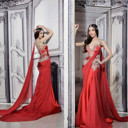Wholesale Indian Summer Dresses - Gorgeous Indian Dresses Long Formal Red Evening Gowns Sheer Straps Court Train Ruched Chiffon Lace Appliques Prom Dress with Ribbon
