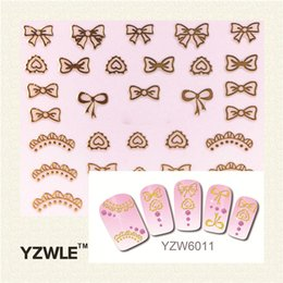 Wholesale 3d Butterfly Nail Design - Wholesale- YZWLE 1 Sheet Fashion 3D DIY Gold Butterfly and Tie Design Nail Art Sticker