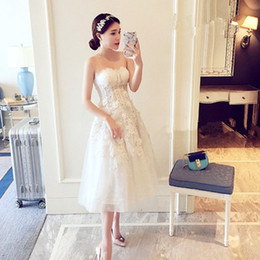 Wholesale Tull Tea Length Dress - In Stock Real Picture Tull Vestidos De Casamento Da Sereia Mid-Calf Ball Gown Wedding Dress Vintage Appliques Robe De Mariee Courte