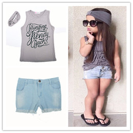 Wholesale Pant Shirts For Girls - Girls fashion summer Vest outfits 3pc set Wide Headband Letters printing Sleeveless T shirt Jeans pants for 2-7T infants kids