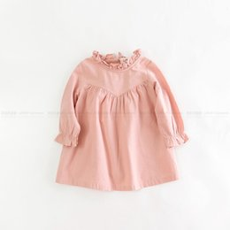 Wholesale Blue Lolita Dress Long Sleeves - Everweekend Girls Ruffles Autumn Long Sleeve Dress Candy Color Pink Blue Color Sweet Children Fashion Dress